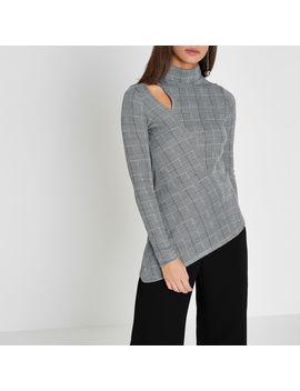 Grey Check Long Sleeve Asymmetric Hem Top by River Island