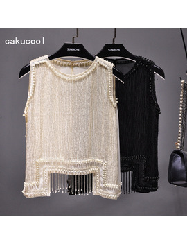 Cakucool Women Beading Blouse Shirt Sleeveless Summer Chiffon Tops Pearl Tassels Cute Sexy Girls Blusas Top Shirts by Cakucool