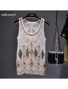 Cakucool Women Summer Sequined Blouse See Through Sexy O Neck Mesh Blusas Shirt Sleeveless O Neck Floral Beading Lady Tank Shirt by Cakucool