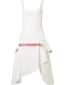 Tea Towel Asymmetric Woven Cotton Jersey And Linen Dress by Jw Anderson