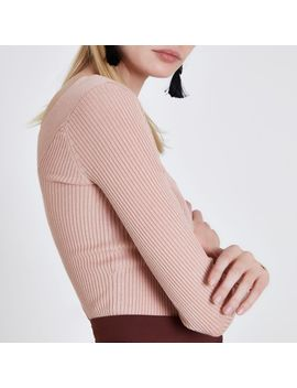 Light Pink Ribbed Fitted V Neck Top by River Island