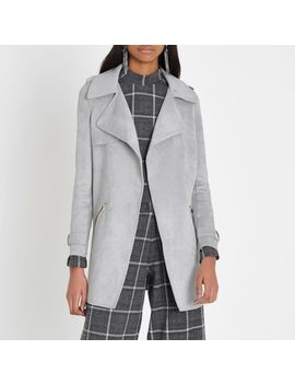 Light Grey Faux Suede Longline Trench Coat by River Island