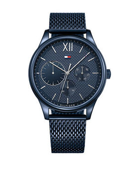 Blue Stainless Steel Chronograph Mesh Bracelet Watch by Tommy Hilfiger