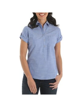 Riders By Lee Women's Short Sleeve Roll Tab Woven Shirt by Riders By Lee