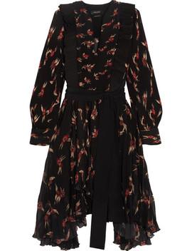 Wesley Ruffled Floral Print Plissé Chiffon Midi Dress by Isabel Marant
