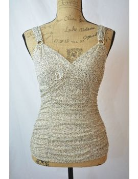 Express   Beige Black Geometric Nylon Mesh Ruched Tank Blouse, Size S by Express