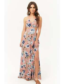 Floral Halter Cutout Maxi Dress by Forever 21
