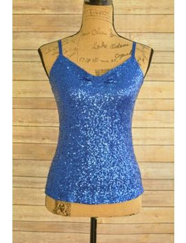 The Limited   Blue Sequined Nylon Cami Tank Top, Size S by The Limited