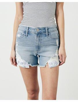 Vintage Stretch High Rise Denim Midi Shorts by Hollister