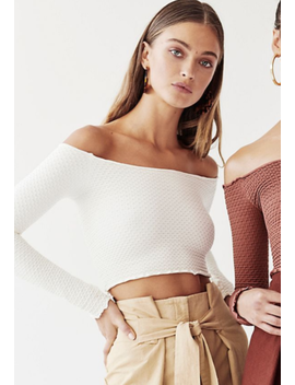 New Free People Intimately Textured Long Sleeve Crop Top Ivory Xs/S M/L $54.11 by Free People