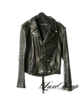 Crazy Vintage Steinmark Black Heavy Leather Motorcycle Rockstar Jacket Coat Nr by Steinmark