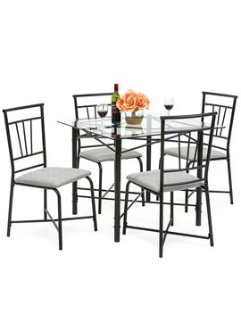 Best Choice Products 5 Piece Square Glass Dining Table Set W/4 Upholstered Chairs by Best Choice Products