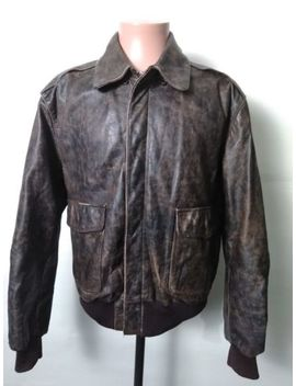 Vintage Banana Republic Distressed Leather Type A 2 Bomber Flight Jacket Mens 42 by Banana Republic