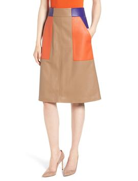 Seplea Colorblock Leather Skirt by Boss