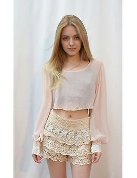 Chiffon Crop Top With Crochet Trim On Long Sleeves And Pearl Embellished Around by Cy