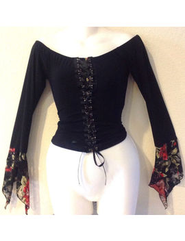 Sexy Vixen Lace Up Stretch Long Sleeve Corset W/Floral Lace Junior Top Size L by Unbranded