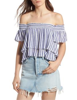 Summer Stripe Tiered Off The Shoulder Top by Rails