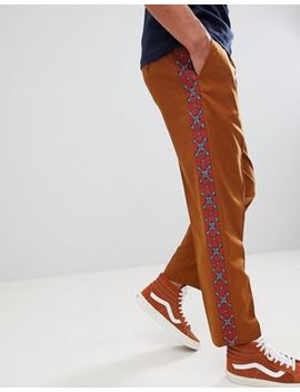 Asos Design Tapered Smart Pants In Tan With Geo Tribal Embroidered Side Stripe by Asos Design