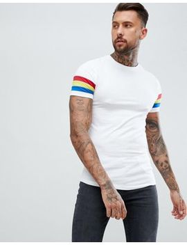 Asos Design Muscle T Shirt With Curved Hem And Bright Contrast Sleeve Panel by Asos Design