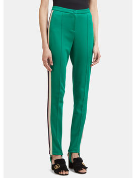 Logo Lateral Band Pants In Green by Gucci