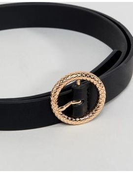 Asos Design Faux Leather Skinny Belt In Black With Gold Embossed Circle Buckle by Asos Design