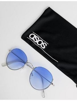 Asos Design Metal Round Sunglasses In Silver With Blue Fade Lens by Asos Design