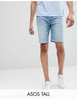 Asos Tall Denim Shorts In Skinny Light Wash With Abrasions by Asos