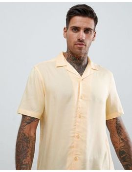 Asos Design Regular Fit Viscose Shirt With Revere Collar In Yellow by Asos Design