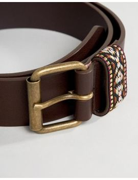Asos Design Festival Faux Leather Wide Belt In Brown With Geo Tribal Embroidered Keeper by Asos Design
