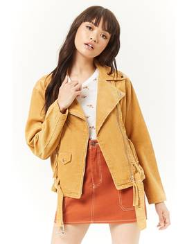 Corduroy Moto Jacket by Forever 21