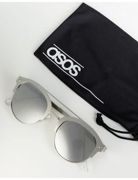 Asos Design Retro Sunglasses In Brushed Silver Metal With Silver Mirrored Lens by Asos Design