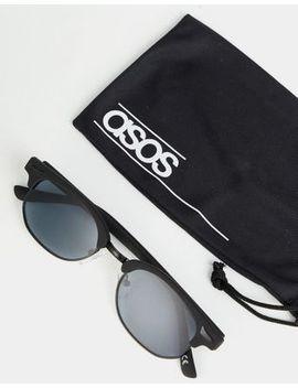 Asos Design Mini Retro Sunglasses In Matt Black With Smoke Lens by Asos Design