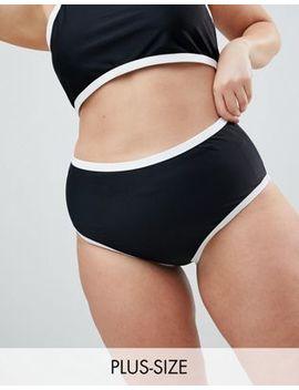 Boohoo Plus Contrast High Waist Bikini Brief by Boohoo