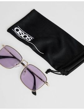 Asos Design Square Sunglasses In Gold With Lilac Lens by Asos Design