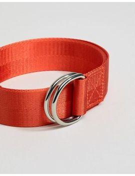 Asos Design Slim Woven Long Ended Belt In Orange With D Ring Fastening by Asos Design