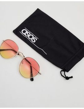 Asos Design Round Sunglasses In Gold With Orange & Yellow Fade Lens by Asos Design