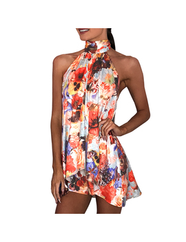 Two Piece Short Set Sexy Halter Lace Up Bandage Top And Pants Women Summer Outfits Fashionnova Print Floral Backless Clothes by Tittok