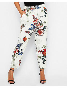 Mid Rise Floral Ruffle Waist Pull On Pant by Express