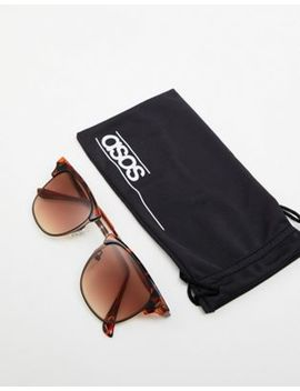 Asos Design Retro Sunglasses In Tort With Brown Lens by Asos Design