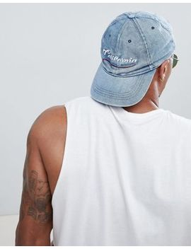 River Island Baseball Cap With California Embroidery In Blue by River Island