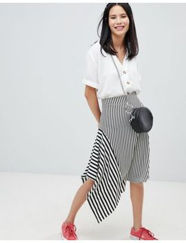 Monki Mixed Stripe Midi Skirt by Monki