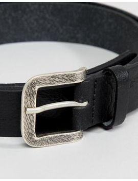Asos Design Smart Slim Vintage Look Leather Belt In Black With Emboss Buckle by Asos Design