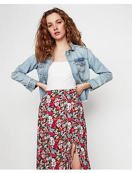 Spring Floral Side Ruched Maxi Skirt by Express