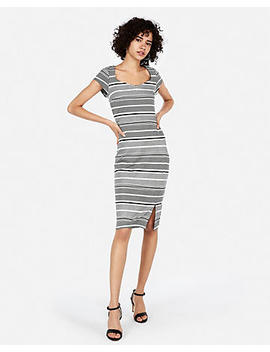 Striped Puff Shoulder Sweetheart Sheath Dress by Express