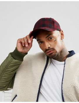 Asos Baseball Cap In Black And Red Check With Distressing by Asos