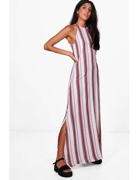 Fi Stripe Column Scoop Back Maxi Dress by Boohoo