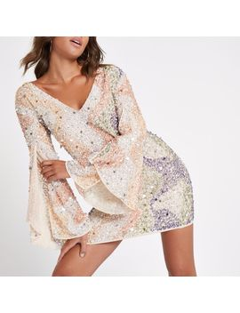 Beige Sequin Embellished Mini Dress by River Island