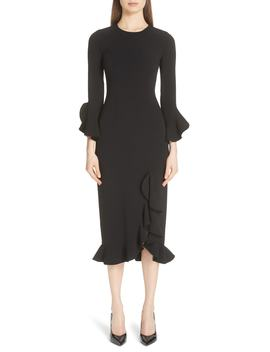 Rumba Ruffle Trim Stretch Wool Dress by Michael Kors