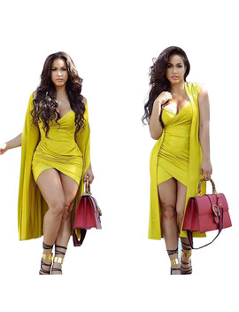 New 2018 Sexy Two Piece Set Summer Outfits Tracksuit Women Strap Backless Mini Dress+Cloak Coat Ensemble Femme Dos Piezas by Fashionnovas