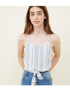 Girls White Stripe Button Tie Front Cami by New Look
